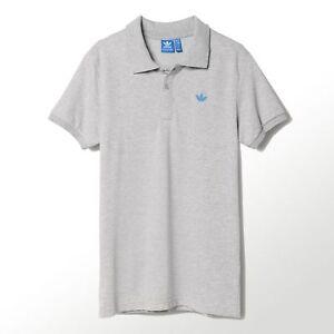 Adidas-Originals-Herren-Casual-Trefoil-Logo-Baumwolle-Pique-Polo-Shirt-grau-blau