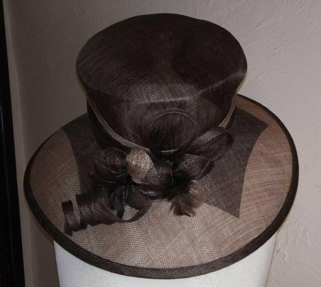 **NEW WITH TAG** 'Classic Millinery' 2 tone mocha Hat *wedding/races/occasion*