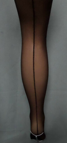 pack of 2 smooth knit seamer seamed tights nylons by silky natural or black