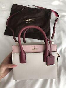Details About Kate Spade Blush Beige Burgundy Small Handbag