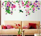 Pink Purple Flowers Vine Bird Removable Wall Sticker Home Girls Living Room