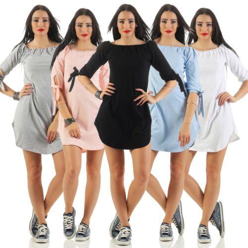 11139 Mini Kleid Tunika Longshirt 3//4-Arm Top Bluse Minikleid Shirtkleid