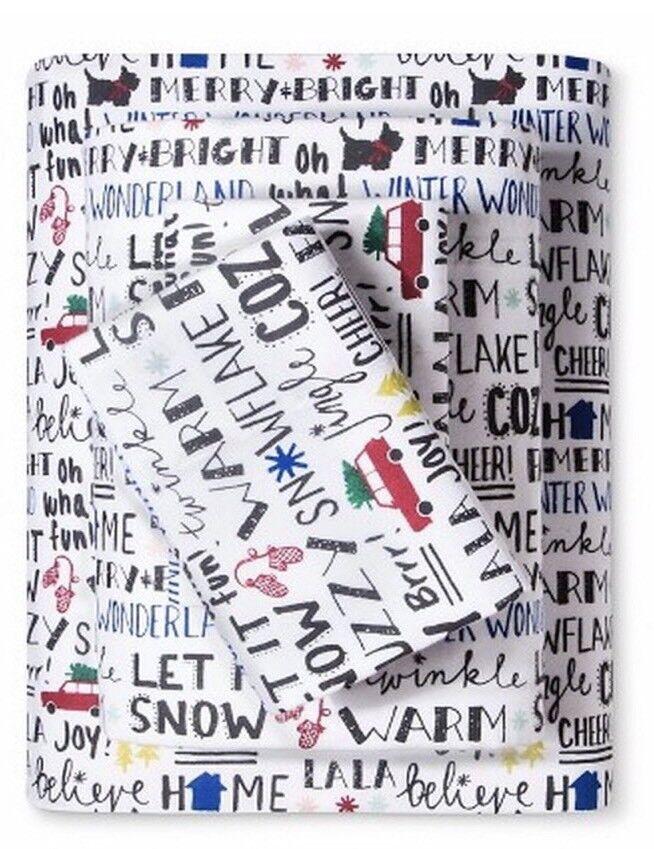 Decor Flannel Sheet Set Christmas Sentiments Words Cal King