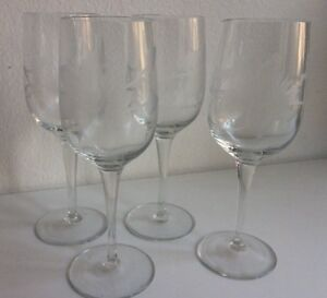 Image is loading Island-Plantations-Day-Lily-Etched-Floral-Wine-Water- & Island Plantations Day Lily Etched Floral Wine Water Glasses Goblets ...