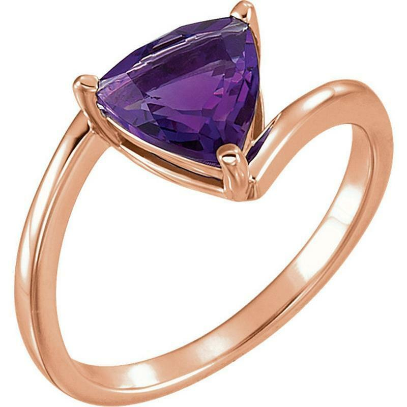 14K pink gold Trillion Amethyst Bypass Ring