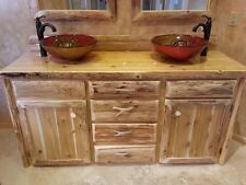 Custom Rustic Cedar Wood Log Cabin Lodge Bathroom Vanity Cabinet 72 INCH