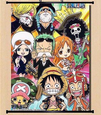 Hot Japan Anime One Piece Luffy Zoro Sanji Wall Scroll Home Decor 21*30CM 004