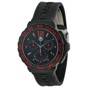 594eeb40e44c Tag Heuer Men s Formula 1 Chronograph Black   Red Titanium watch ...