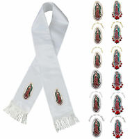 Color Lady Of Guadalupe Embroidery Christening Stole Scarf Sash Born 7 Yrs