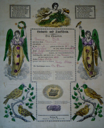1868 TAUFSCHEIN GEBURTS ANTIQUE BAPTISM BIRTH CERTIFICATE FRAKTUR READING PA
