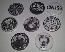 8 Crass Pin button Badges 25mm punk You're already dead Anarchy and peace UK