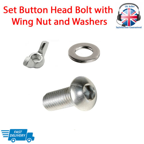 Set Screw BUTTON HEAD Bolt With Nuts and Washers A2 Stainless Steel M5 M6 M8