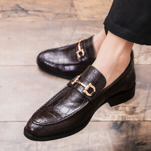 Mens-Leather-England-Shoes-British-Dress-Shoes-Casual-Slip-On-Loafers-Shoes-New