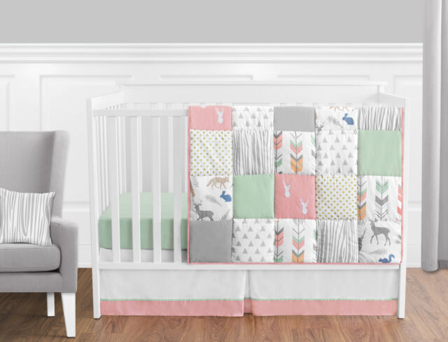 Bumperless Coral Mint White Grey Deer Forest Baby Girl Nursery Bedding Crib Set