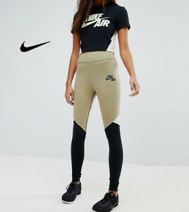 WOMENS-NIKE-HIGH-RISE-LEGGINGS-SIZE-M-AH7634-209-NEUTRAL-OLIVE-BLACK