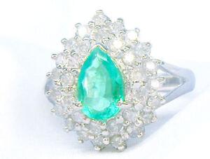 Llamativa-1-99-CT-Diamante-amp-Esmeralda-18K-Oro-Blanco-Anillo