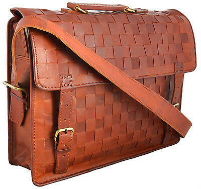 leather handmade messenger brown vintage laptop strong bag satchel briefcase