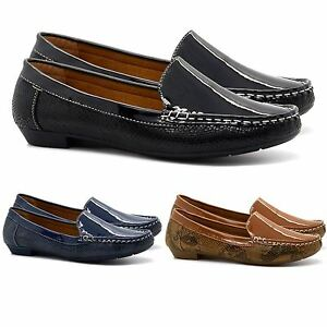 LADIES CASUAL SLIP ON FLAT COMFORT SHOE WORK SHOES PUMPS BROWN  SIZE 3-8
