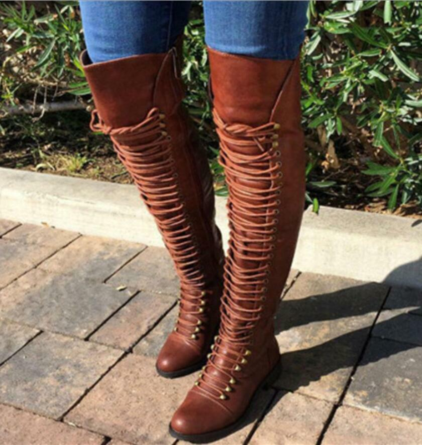 Womens Ladies Thigh High Over The Knee Boots Lace Up Flat Low Heels Riding shoes
