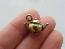 4 Teapot charms golden bronze tone BC103