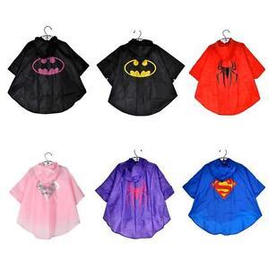 NEUF-enfants-garcons-et-filles-de-super-heros-poncho-impermeable-manteau-de-pluie-Age-3-4-5-6-7-8