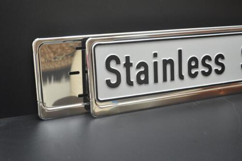 2 X Chrome Acier Inoxydable Number Plate holders entoure cadres-tout véhicule