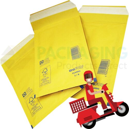 AROFOL GENUINE GOLD BUBBLE PADDED ENVELOPES MAILERS BAGS SIZE 1-100x165mm