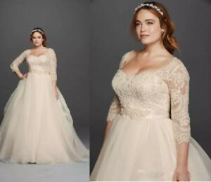Details about Champagne Vintage Lace Plus Size Wedding Dresses Formal  Bridal Gown Custom Made