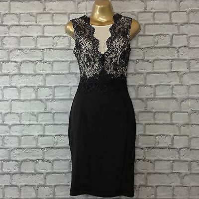 BNWT LIPSY UK 8 MICHELLE KEEGAN BLACK NUDE LACE MESH BODYCON DRESS RRP £65.00