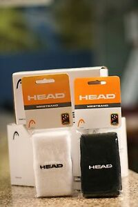 """Head RACQUETBALL WRISTBAND SWEATBAND WHITE/ BLACK COLOR, LONG 5"""". TWO PAIRS"""