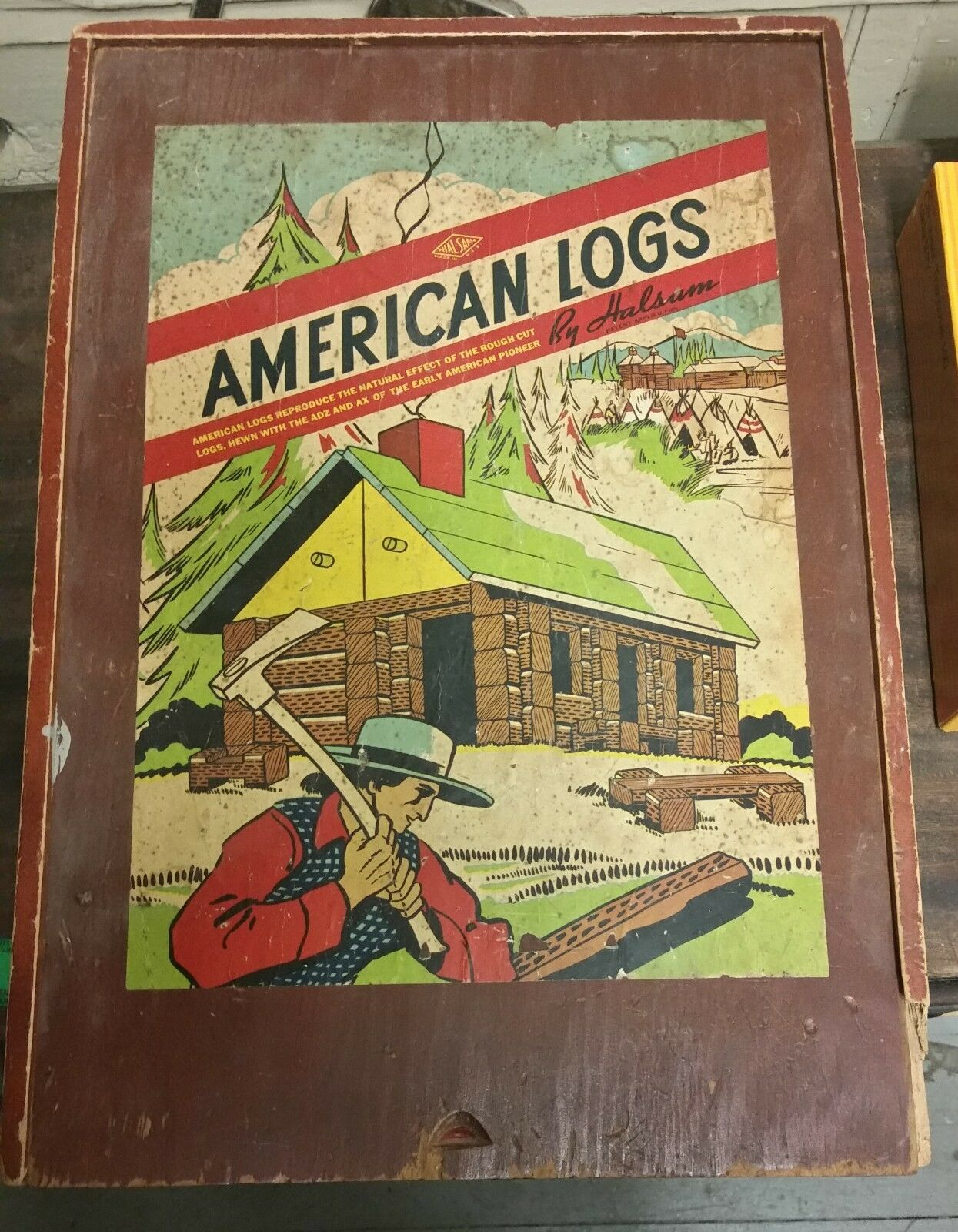Vintage Halsam American Logs in Old Wooden Box(C7-T)