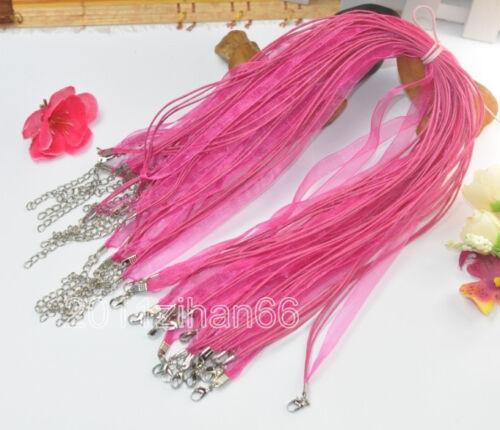 Wholesale 10pcs 100pcs Organza Ribbon Voile Charms charm Necklace Cords