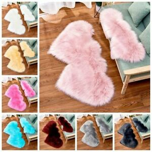 Fluffy-Two-Heart-Shaped-Rug-Floor-Mat-Soft-Faux-Fur-Home-Bedroom-Hairy-Carpet