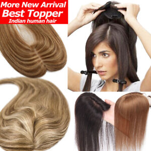 Mono-Silk-Base-Clip-In-Virgin-Human-Hair-Topper-Extensions-Mix-Blonde-Durable-US