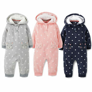9c21046ed84e XNWT Carters Baby girls Hooded Fleece Jumpsuit Clothes 6 9 12 18 24 ...