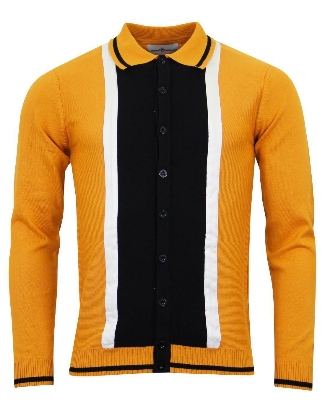 NEW  MADCAP RETRO MOD 60s SUEDE MARRIOTT CARDIGAN POLO SHIRT GoldEN OAK MC200 H1  | Won hoch geschätzt und weithin vertraut im in- und Ausland vertraut