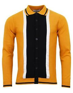 nuevo-Madcap-Retro-Mod-60s-Gamuza-Marriott-Cardigan-Polo-Camisa-Roble-Dorado-MC200-H1