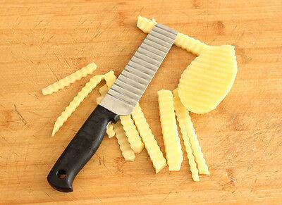 Chip Dough Vegetable Carrot Blade Potato Crinkle Wavy Cutter Slicer StainlesSH