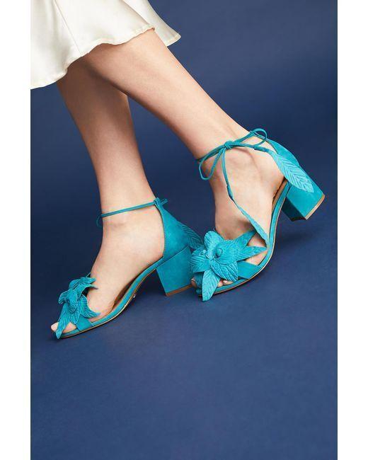 ANTHROPOLOGIE NIB SCHUTZ  Floral Heels Turquoise bluee Black SUEDE Sz.6,7.5,8.5