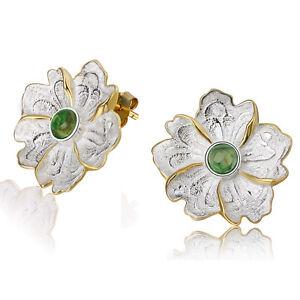 Multi-Color-Tourmaline-Gemstone-925-Sterling-Silver-Peony-Flower-Stud-Earrings