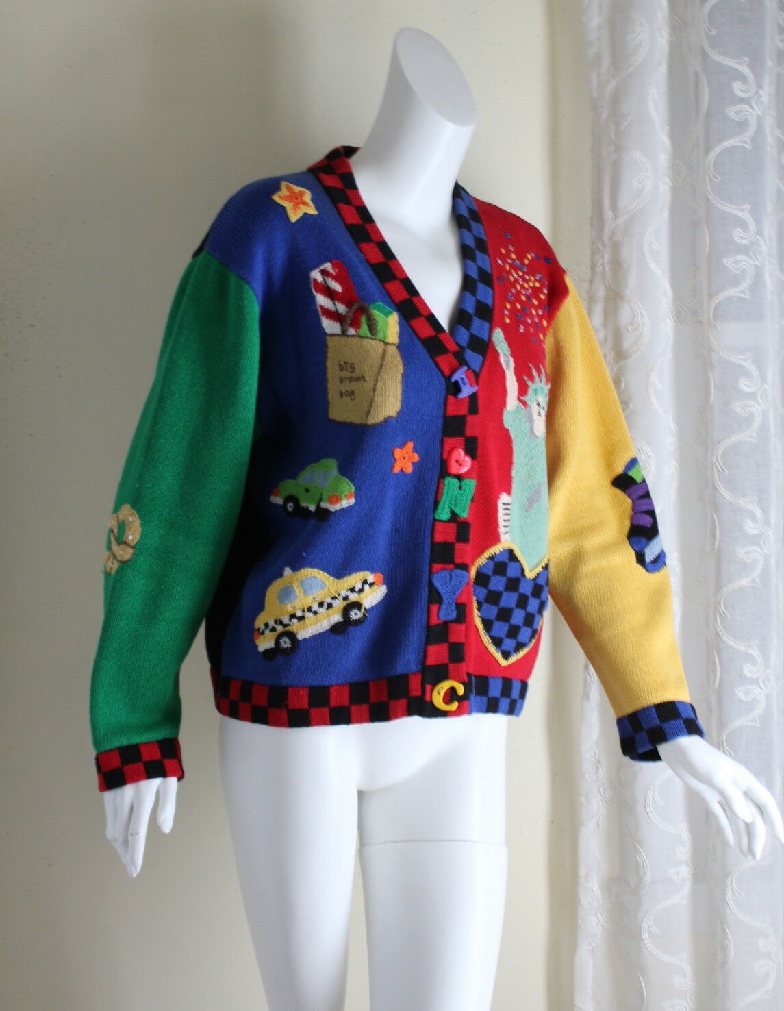 årgång Berek nyC konst -to -Wear Liberty Shopping ny York tröja Sz L
