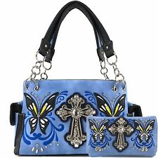 Item 7 Justin West Spring Erfly Western Cross Conceal Carry Handbag Purse Wallet