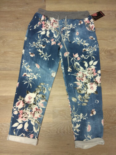 BAGGY JOGPANT JOGGING FREIZEIT HOSE SWEAT PANTS BLUMENMUSTER 38 40 42 44 DENIM