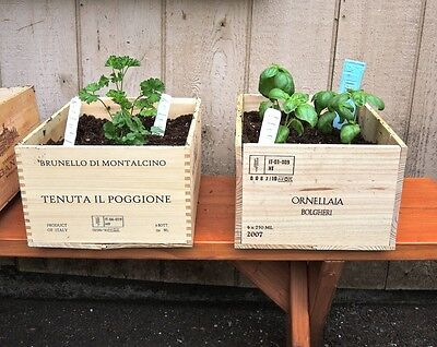 1 x 6 BOTTLE SIZE SMALL  FRENCH WOODEN WINE CRATE / BOX IDEA GARDEN PLANTER POT