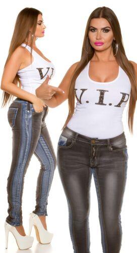 Curvy Girls Damen Koucla Jeanshose Skinny Jeans Hose  Bi-Color