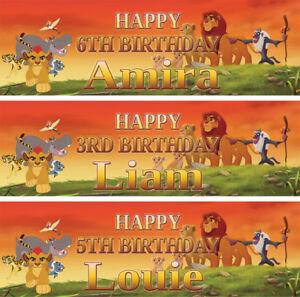 2-x-Banner-Personalizzato-Compleanno-Re-Leone-Lion-Guard-Bambini-Kids-Party
