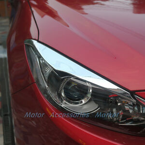 Chrome Front Light Trim Eyelid For Mazda 3 M3 Axela 2014 2015 16 Sedan Hatchback Ebay