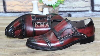 Handmade Men Brown Double Monk Buckle Strap Wingtip Luxury Leather Shoes