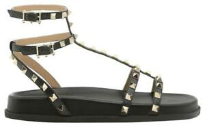 e7096d282ec6 Image is loading Valentino-Rockstud-Torchon-Black-Leather-Gladiator-Ankle- Strap-