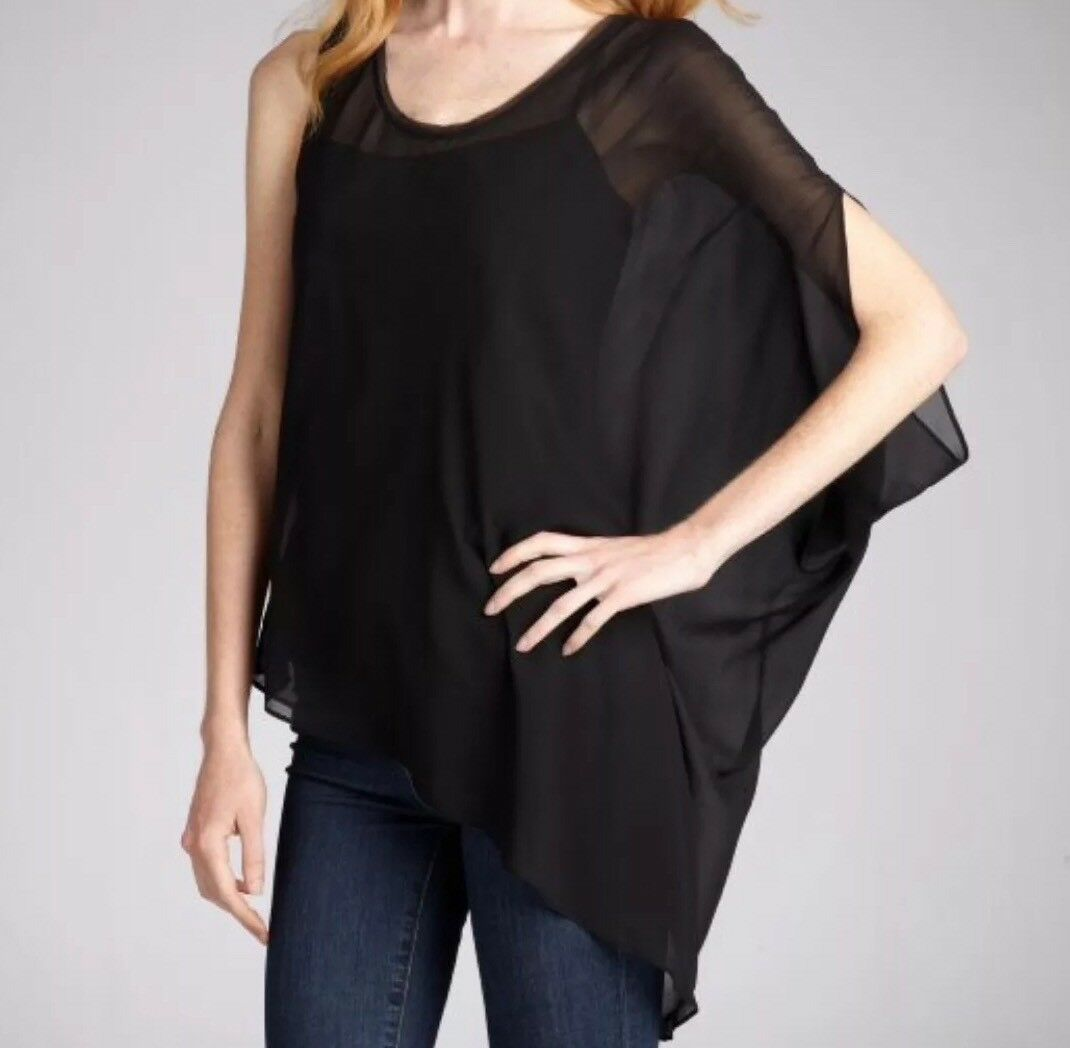 NWOT  Helmut Lang schwarz Silk Asymmetrical Single Short Sleeve Blouse Small